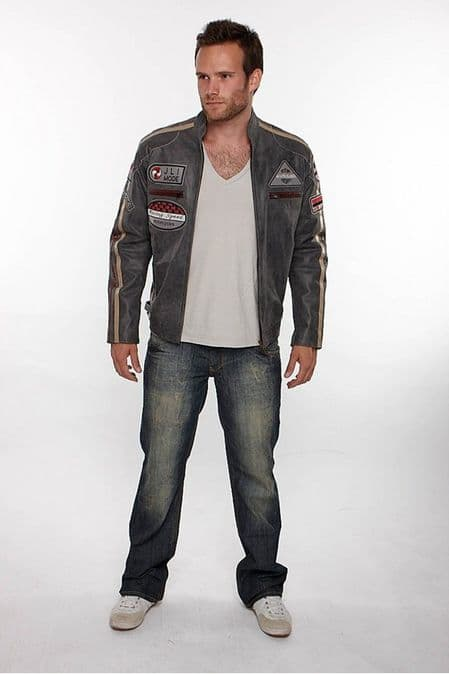 Mens Leather Biker Jacket w Badges in Taupe